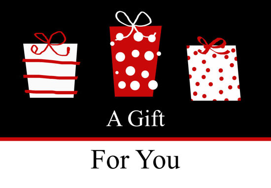GCI-11 Gift Card Holder (Black With Red & White Presents)