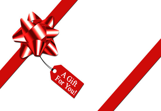 GCI-12 Gift Card Holders (White with Red Bow & Tag)