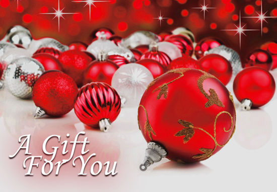 GCI-21 Gift Card Holder (Red & White Ornaments)
