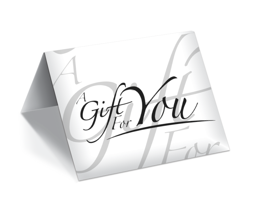 GCI-28 Gift Card Holder (White With Type Set Offset)